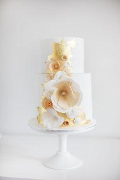 Gold, Peach Ivory Wedding Cake by Sweet Bakes Fondant Cake Designs, Fondant Cakes, Cupcake Cakes, Cupcakes, Wafer Paper Flowers, Wafer Paper Cake, Sugar Flowers, Metallic Cake, Gold Cake