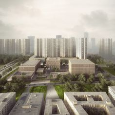 Gallery - Tradition and Modernity Come Together in Mecanoo and HS Architects' Proposal for the Longhua Art Museum and Library - 6 Chinese Architecture, Space Architecture, Amazing Architecture, Museum Plan, Art Museum, Shenzhen China, Building Rendering, Library Plan, Library Pictures