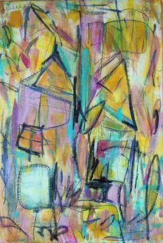 "'houses' by Kerri Linden | $250 | 12""w x 18""h | Original Art | http://www.arttwo50.com/buy/art/houses"