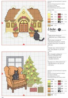 Black Cat and Winter House and Black Cat and Christmas Tree.  Free pattern.  {colour legend included}