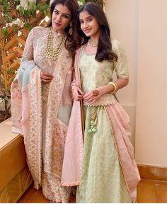 Indian dresses - Raveena Tandon Elegantly Twins With Daughter And Adds Glamour To Isha Ambani's Pre Wedding Festivities Bridal Mehndi Dresses, Indian Wedding Gowns, Desi Wedding Dresses, Asian Wedding Dress, Bridal Outfits, Pakistani Dresses, Indian Dresses, Indian Outfits, Wedding Wear