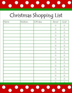 Christmas Shopping List {Printable | Christmas shopping list ...