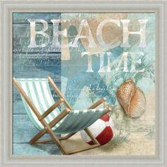 Amazon.com - Beach Time by Conrad Knutsen Ocean Beach ball 14x14 Framed Art Print Picture Wall Decor -