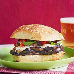 """Instead of the average meat-bread combo, try a """"meaty"""" vegetable on your sub, like eggplant in this Rachael Ray Grilled Eggplant & Mozzarella recipe! Meatless Moday!"""