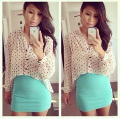 Turquoise skirt, black and white long sleeve shirt outfit