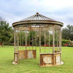 The aged Metal Gazebo by Park Hill Collection's has carefully detailed aging for conservatory or greenhouse entry. Farmhouse Garden, Farmhouse Design, Old Garden Gates, Park Hill Collection, Backyard Gazebo, Patio, Aging Metal, Outdoor Gardens, Rustic Gardens