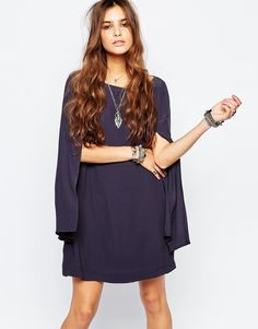 Free People Some Like It Hot Cape Dress With Split Sleeves