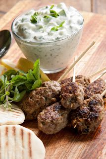 Lamb Kofta with Herbed Tzatziki Recipe - perfect for entertaining others! #partyfood #fingerfood