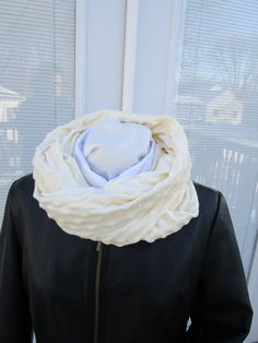 Cream Minky infinity scarf, winter scarf, Cuddle fleece scarf