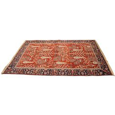 Vintage Mid Century Modern Large Nomatic Motif Rug ($950) ❤ liked on Polyvore featuring home, rugs, tribal rug, red area rugs, red rug, tribal area rugs and wool rugs