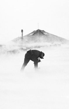 Australasian Antarctic Expedition 1911-14: Quarrying ice in the face of a high wind (Photo: Frank Hurley)