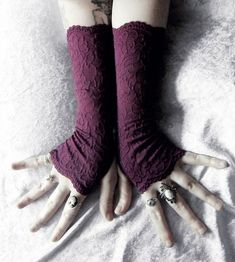 Poisoned Plum Purple Burgundy Lace Fingerless Gloves!  Simply Stunning & Elegant! This is a soft, opaque, embroidered lace in a lovely deep and rich color! Just back in! These sold out last year but I just received a little more of this lace so I will be able to make a limited amount more!  Past the wrist in length, and made from Beautiful Plum Purple Burgundy embroidered stretch lace fabric for the perfect fit! There is a serged thumb hole, so it will not fray, and they are wonderfully…