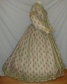 Charming 1860's Print Challis Wrapper Dress Museum de Accessioned | eBay