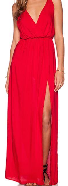 pretty red maxi dress