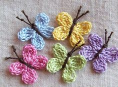 Crochet Butterfly AppliquesSpring Colors 5pcs by LittleMargie, $3.00