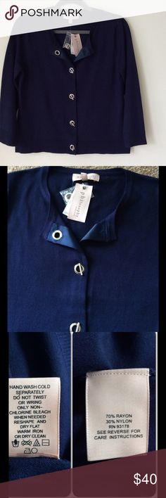 NWT Navy Philosophy Sweater w. Toggle Closure Silver toggle hardware. Beautifully made! Philosophy Sweaters