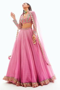 Shop Vvani by Vani Vats Embellished Organza Lehenga Set , Exclusive Indian Designer Latest Collections Available at Aza Fashions Indian Gowns, Indian Attire, Indian Ethnic Wear, Indian Fashion Designers, Indian Designer Outfits, Stylish Dresses, Fashion Dresses, Mode Bollywood, Raw Silk Lehenga