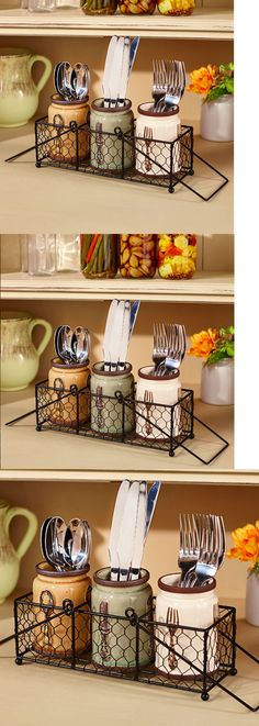 Flatware Storage 159899 Organizer Utensils Holder Ceramic Kitchen Countertop Caddy Jars Basket