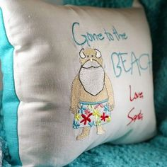 Gone to the Beach Santa Pillow Hand Embroidered: http://www.completely-coastal.com/2014/11/nautical-coastal-Christmas-pillows.html