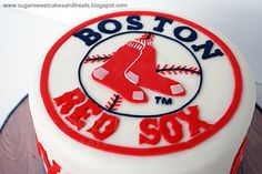 Boston Red Sox Cake 6 inch round Decorated in MMF. All handcut. Boston Red Sox Shirts, Boston Red Sox Players, Boston Red Sox Game, Boston Red Sox Logo, Boston Boston, Red Sox Cake, Sweet Cakes, Party Ideas, Cupcakes Boston