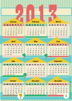 free printable 2013 calendar II – ausdruckbarer Kalender 2013 – freebie | MeinLilaPark