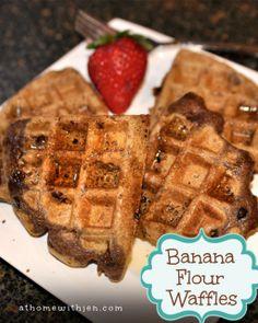 Gluten Free Waffles made with Banana Flour  ... Yep I said banana flour. http://athomewithjen.com/gluten-free-waffles/
