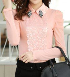 South Slim Fit Embellished Collar Blouse 67