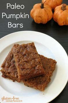 Pumpkin is great for adding moisture to baked goods, and these Paleo Pumpkin Bars are moist and delicious. They're almost a cake, but if you call them bars, no one expects frosting. :)