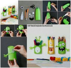 Cute monster pencil holder recycled shampoo bottle.