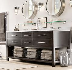 This vanity would work too. I like that it has drawers but also open storage below - good for towels and kids bath items.