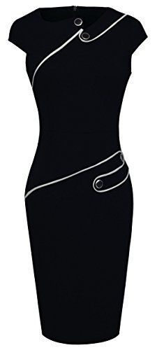 HOMEYEE Women's Voguish Colorblock Wear To Work Pencil Dress - best woman's fashion products designed to provide Plus Size Business Attire, Business Meeting, Outfits Plus Size, Formal Cocktail Dress, Short Sleeve Dresses, Dresses With Sleeves, Long Sleeve, Wedding Dresses For Sale, Dress For Success
