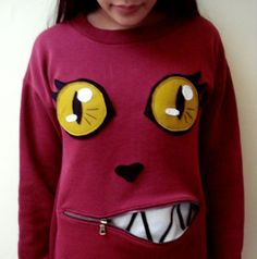 Cat Sweater with Zipper-Mouth