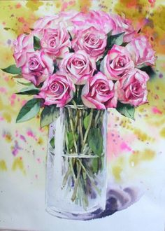Namil Aquarell Galerie The post Namil Aquarell Galerie appeared first on Bestes Soziales Teilen. Watercolor Rose, Watercolor Landscape, Watercolor Illustration, Watercolour Painting, Flower Vases, Flower Art, Beautiful Rose Flowers, Watercolor Pictures, Acrylic Flowers