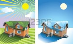 house interior: Two season: small house in summer under the sun on the grassy field, and in winter snow covered, vector illustration