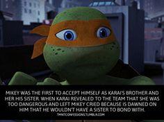 Oh man, the last part of this episode shattered my heart to pieces! Poor Karai and Mikey! Ninga Turtles, Ninja Turtles Art, Teenage Mutant Ninja Turtles 2012, Turtle Facts, Tmnt Mikey, Tmnt 2012, Cartoon Crossovers, Cartoon Shows, Disney