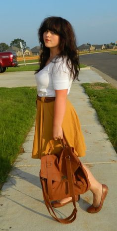 i'd rock: mustard high-low skirt (target).  white top (on).  nude flats (payless).