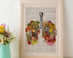 Summer Sale Flowery Lungs human Anatomy Print on dictionary. Anatomy art, love art, human science  anatomy art, wall decor SKA062