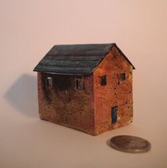 Miniature Abandoned House - sculpture - 2 inches tall