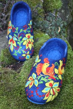 Felted Slippers- Blue Garden