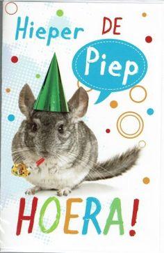 Verjaardagskaart met dieren Happy Animals, Birthday, Fictional Characters, Paper Board, Birthdays, Fantasy Characters, Dirt Bike Birthday, Birth Day