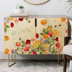 East Urban Home Iveta Abolina Emmaline Credenza Furniture Makeover, Diy Furniture, Floral Painted Furniture, Decopage Furniture, Armoire Makeover, Furniture Dolly, Modern Furniture, Styling A Buffet, Countertop Materials