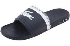 a5bb96ce3 Lacoste Men s Dark Blue White Fraisier BRD1 Fashion Slide Sandals Shoes