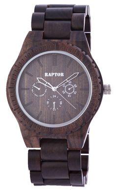 Raptor Herren Uhr Holz Armbanduhr dunkelbraun Holzuhr