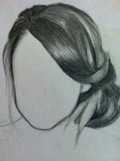 how to draw hair ponytail