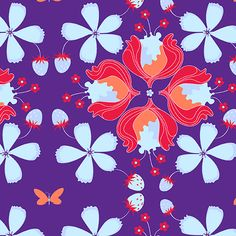 These bright designs by Mo Bedell are thriving with vivid colors and bold florals. Pattern A-7186-B.