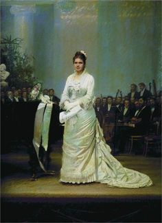 Portrait of singer Elizabeth Andreevny Lavrovsky, on stage at the Assembly of Nobility - Ivan Kramskoy - WikiPaintings.org