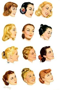 Some fun vintage hairstyle illustrations. Third row left and fourth row right are my favourites.