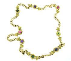 18k Gold Impressive Diamond Gemstone Long Necklace Available in the April 27 Auction on hamptonauction.com !!
