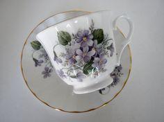 Vintage Tea Cup and Saucer Violets Crown Trent Fine by oldandnew8, $15.00