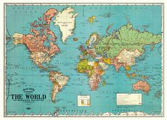 Vintage World Map PRINTABLE Map Print-Instant Digital